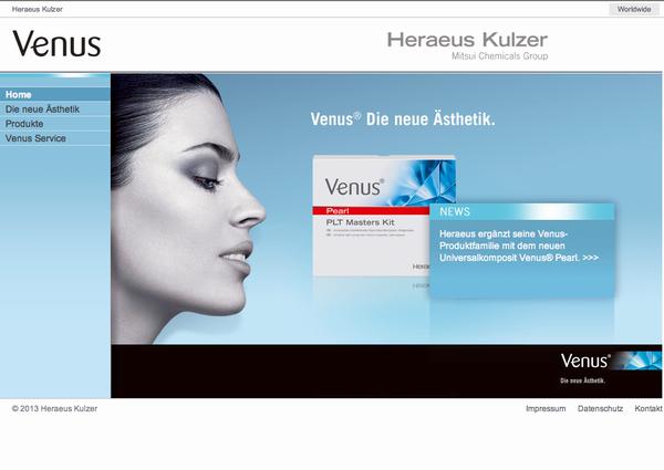 Heraeus Venus Webauftritt
